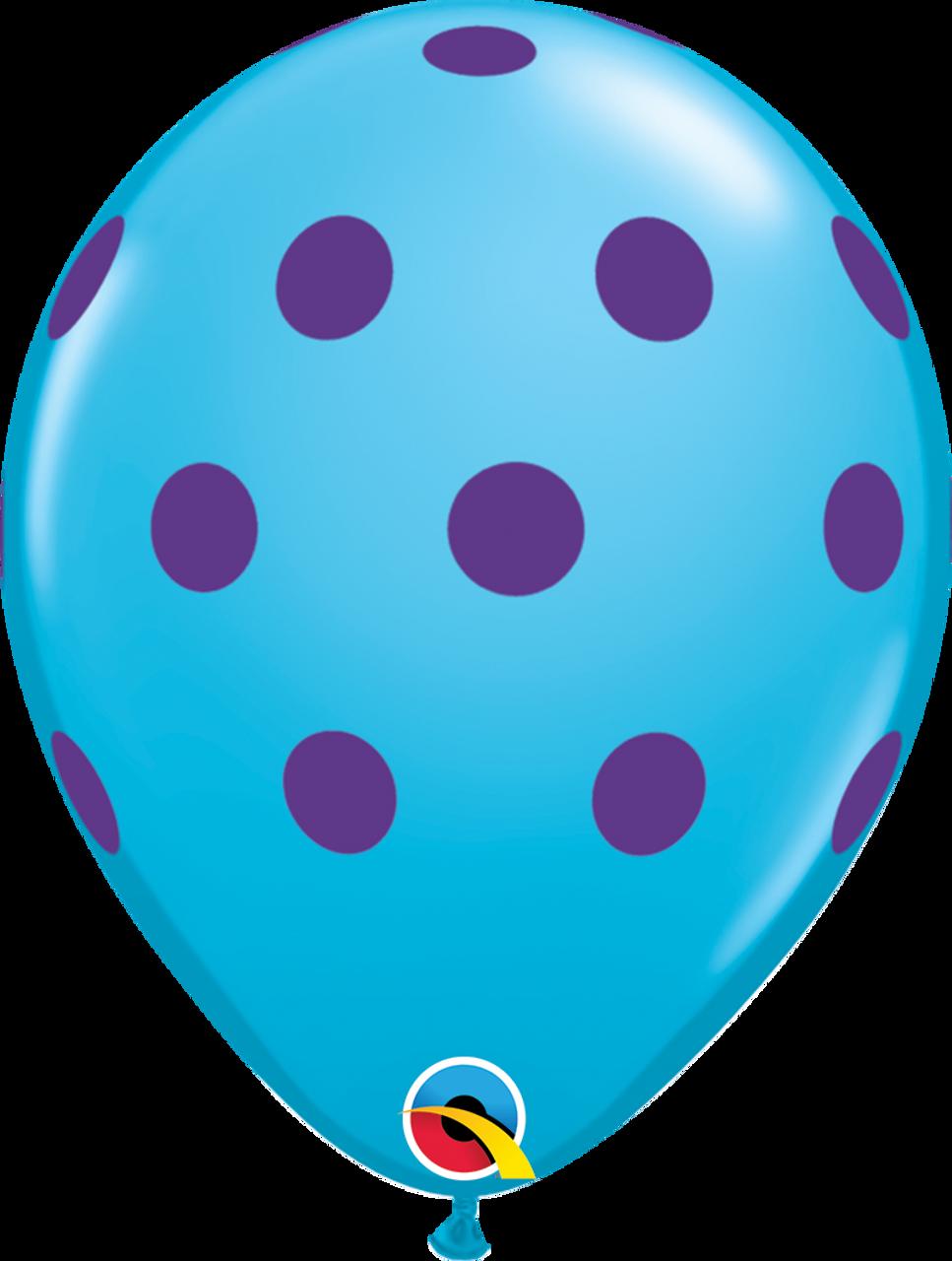 "10 x Qualatex Big Polka Dots Diamond Clear with Gold Spots 11/"" Latex Balloons"