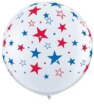 "36""Q White with Red Blue Stars A Round Print (2 count)"