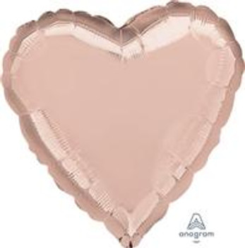 """18""""A Heart, Rose Gold Mylar(10 count)"""