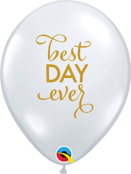 "11""Q Best Day Ever Clear w/ Gold print (50 count)"