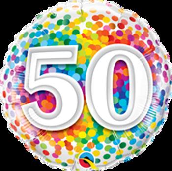 "18""Q Happy Birthday Rainbow Confetti, 50(10 count)"