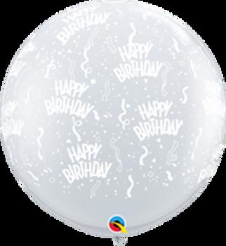 "36""Q Clear w/ White Happy Birthday Print (2 count)"