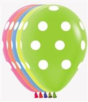 "11""B Assorted Neon Dots Print (50 count)"