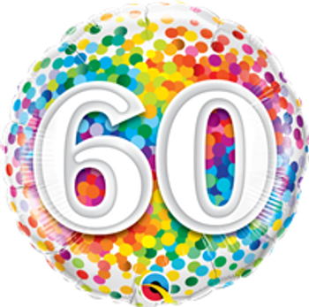 "18""Q Happy Birthday Rainbow Confetti, 60(10 count)"