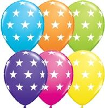 """11""""Q Assorted, Tropical with White Stars Print (50 count)"""