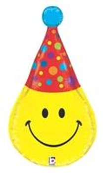 "33""B Smiley Face with Party Hat, Dimensionals (1 count)"