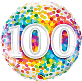 "18""Q Happy Birthday Rainbow Confetti, 100(10 count)"