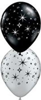 "11""Q Assorted, Sparkles & Swirls Silver & Black Print (50 count)"