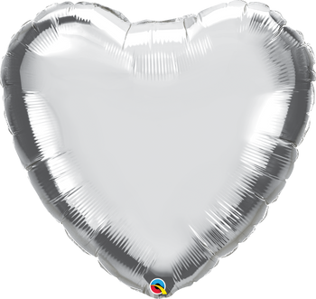 "36""Q Heart Mylar Silver (5 count)"