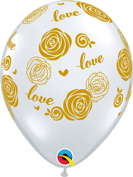 "11""Q Diamond Clear Love Roses Gold Print (50 Count)"