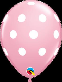 "11""Q Dots Big Pink w/ White Print (50 count)"