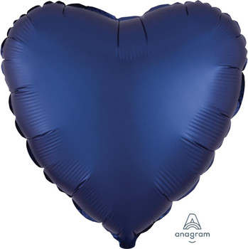"""18""""A Heart Satin Luxe Navy (10 count)"""