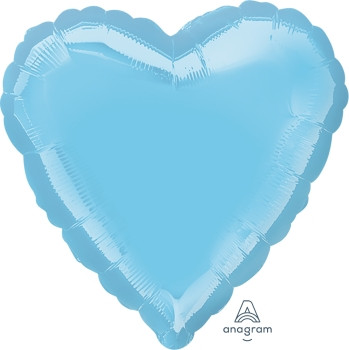 """18""""A Heart, Pearl Light Blue (10 count)"""