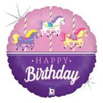 "18""B Happy Birthday, Carousel Horse (10 count)"