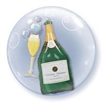 """24""""Q Double Bubble Bubbly  Champagne Bottle & Glass(1 count)"""