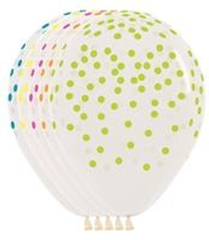 "11""B Clear with Neon Multi Confetti Print (50 count)"