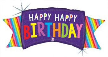 "46""B Happy Birthday Rainbow Banner (1 count)"