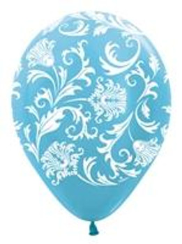 "11""B Damask, Pearl Caribbean Blue with White print (50 count)"