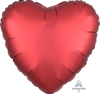 "18""A Heart, Satin Luxe Sangria (Red)(10 count)"