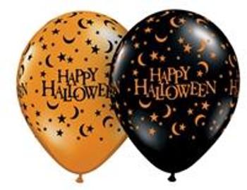 "11""Q Halloween Orange & Black Moons/Stars Print (50 count)"