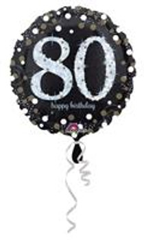 """18""""A Happy Birthday Sparkling 80th Holographic(10 count)"""