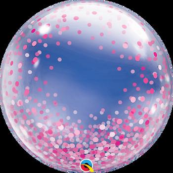 """24""""Q Deco Bubble Confetti Dots All Around Pink Pkg (1 count)"""