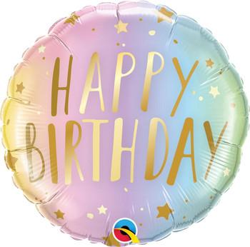 """18""""Q Happy Birthday Pastel Ombre & Stars (5 count)"""