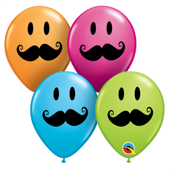 "11""Q Assorted, Smile Face Mustache Print (50 count)"