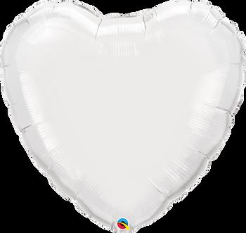 "36""Q Heart Mylar White (5 count)"