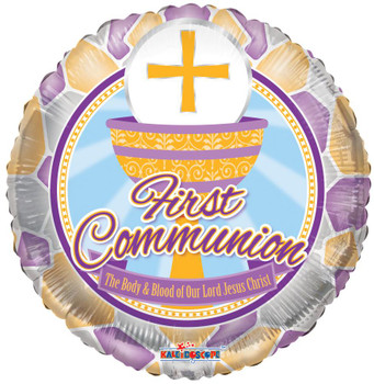 """18"""" First Communion, Stained Glass"""