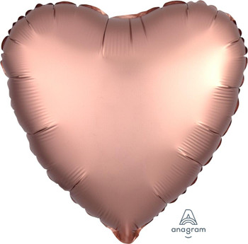 "18""A Heart Satin Luxe Rose Gold Copper (10 count)"