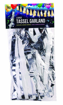 "Tassel Large, 12"" Silver/ White Combo(1 count)"
