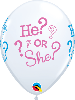 """11""""Q Assorted, He/She ? Gender Reveal Print (50 count)"""