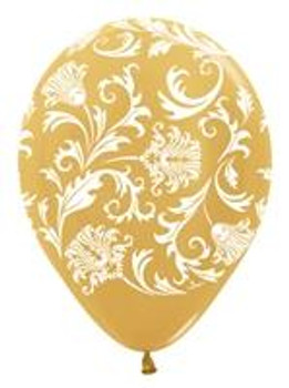 "11""B Damask, Gold with White print (50 count)"