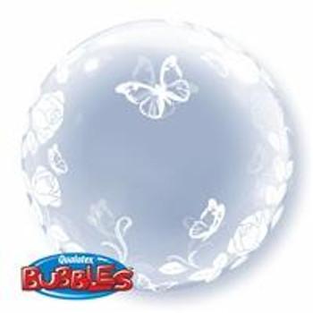 """24""""Q Deco Bubble Rose & Butterflies"""