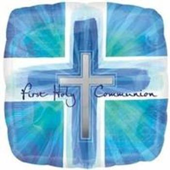 "18"" 1st Holy Communion, Square Blue Verses"