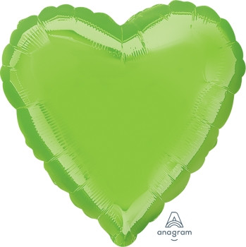 "18""A Heart Lime Green Iridescent (10 count)"