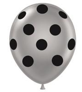 "11""T Dots Silver with Black Print (50 count)"
