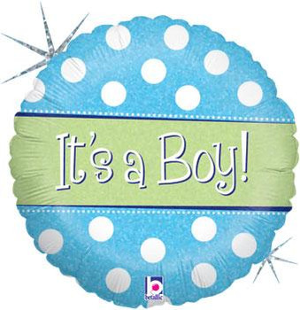 """18""""B It's A Boy Dots Holographic (5 count)"""