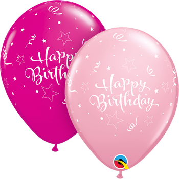 "11""Q Assorted, Happy Birthday Shining Star Print (50 count)"