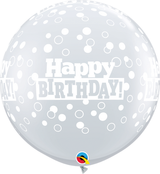 "36""Q Clear w/ White Happy Birthday Confetti Print (2 count)"