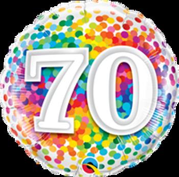 "18""Q Happy Birthday Rainbow Confetti 70(10 count)"