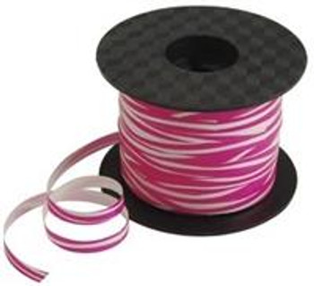 "Ribbon, 1/4"" Curling Zebra / Pink Print"