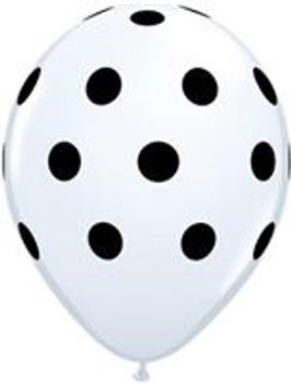 "11""Q Dots Big, White with Black Print (50 count)"