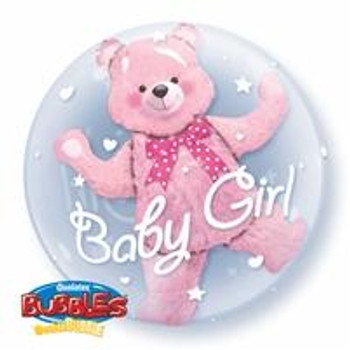 "24""Q Double Bubble Baby Bear Pink(1 count)"