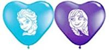 "6""Q Frozen, Heart Elsa/Anna Face Print (100 count)"