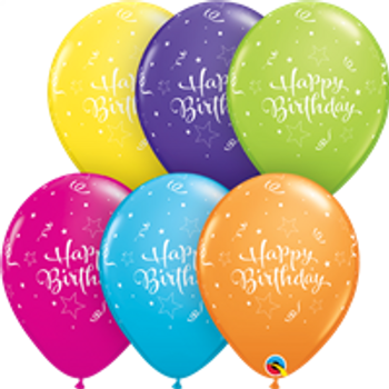 "11""Q Assorted Happy Birthday Shine Star Tropical Print (50 count)"