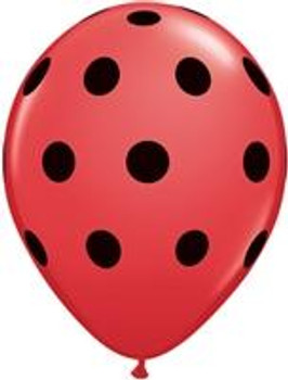 "5""Q Dots Big Red w/ Black Print (100 count)"