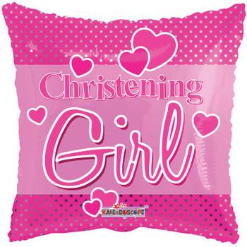 "18"" Christening Girl, Square Dots"
