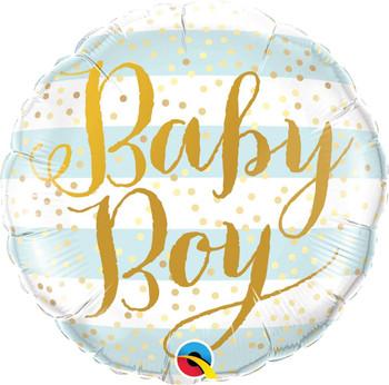 "18""Q Baby Boy Blue Stripes (5 count)"